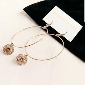 NWT authentic MK rosegold tone charm hoop earrings